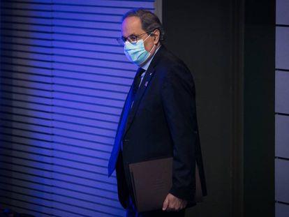 Catalan premier Quim Torra at a press conference.