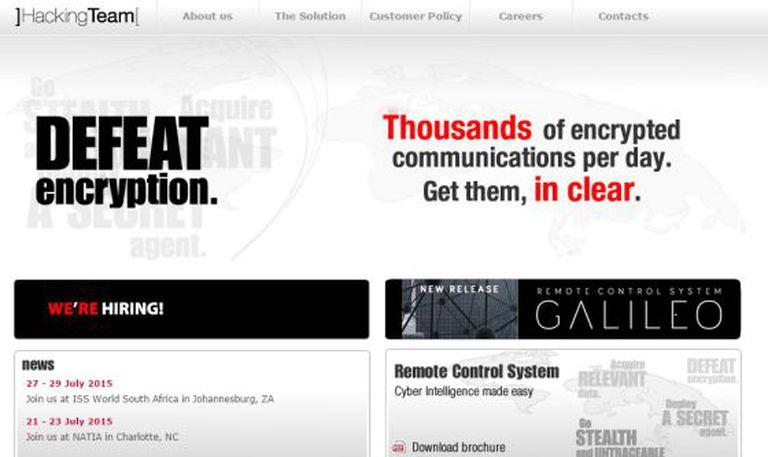 Hacking Team's website.