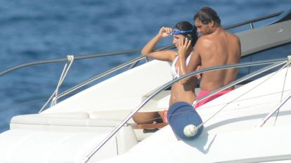 Rafa Nadal with his girlfriend out at sea.