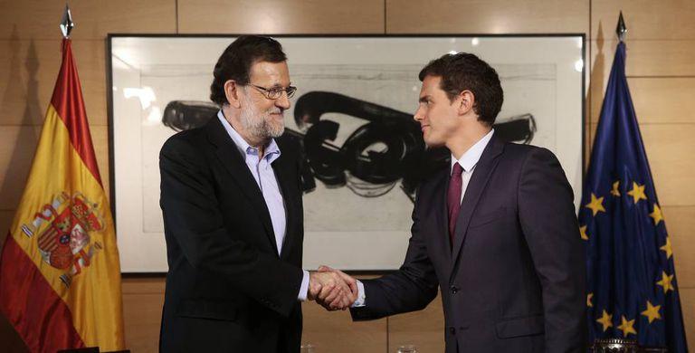 Mariano Rajoy and Albert Rivera on Thursday.