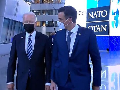 Pedro Sánchez and Joe Biden meet at the Nato summit in Brussels today.