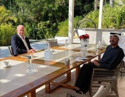 Emeritus king Juan Carlos with Mohammed bin Zayed Al Nahyan at the former monarch's home on Zaya Nurai Island.