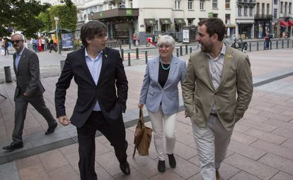Carles Puigdemont, Clara Ponsatí and Toni Comín in Brussels earlier this year.