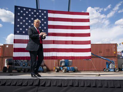President Donald Trump arrives to speak in Marinette, Wisconsin on June 25.