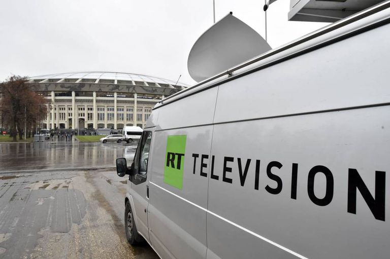 Archive image of a Russia Today van in Moscow.
