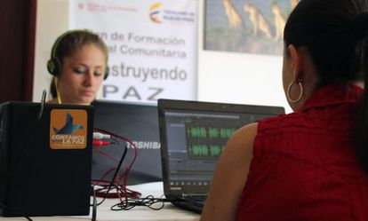 Journalists participate in a training session at a community broadcaster.
