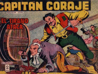 A front cover of the popular 1950s comic book, 'El Capitán Coraje,' on display at the exhibition.