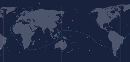 Magellan and Elcano's route for the first trip around the world.