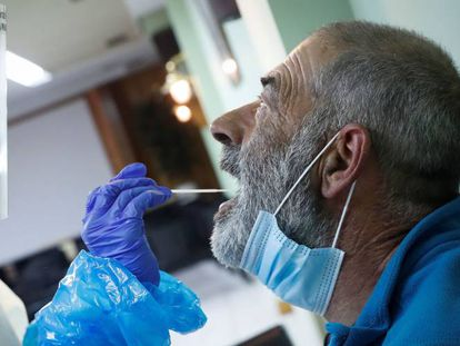 A fisherman gets tested in the Basque Country on Friday.