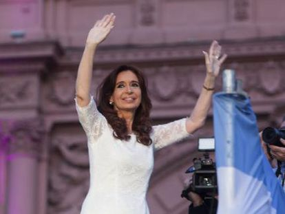 A tearful Cristina Fernández de Kirchner bids farewell to her supporters outside the Casa Rosada presidential palace on Wednesday night.