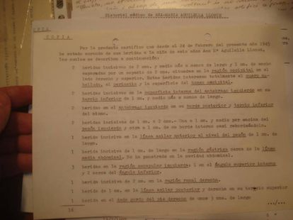 A copy of Anna Maria Aguilella's medical report with a list of her 16 injuries.