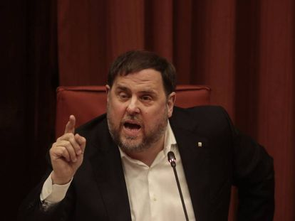 Catalan Republican Left president Oriol Junqueras speaks at the investigation commission in parliament on Tuesday.