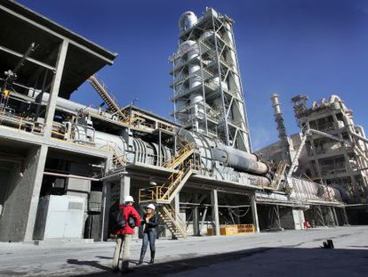 A cement plant belonging to Cemex, located in Buñol, in the Valencia region.