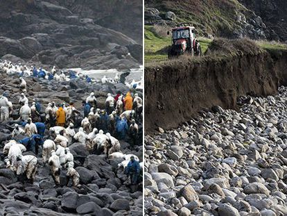 O Coído Beach near the town of Muxía on January 18, 2003. More than a hundred volunteers worked to clean the fuel spilled by the Prestige tanker. Now, 15 years later, the area is completely clean.