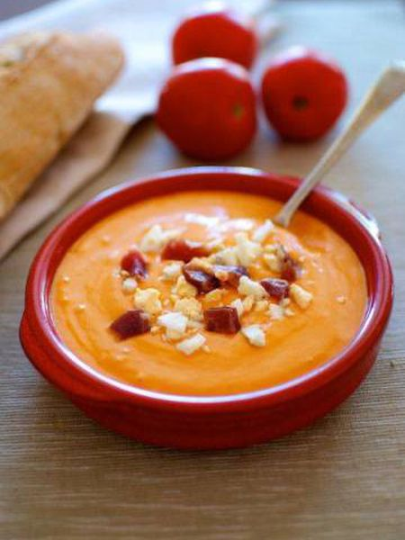 Salmorejo with a classic ham and egg garnish.
