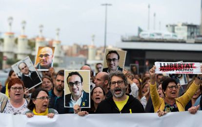 People protesting the decision on Monday in Barcelona.