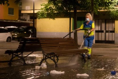 A cleaner disinfects a street in the Son Gotleu neighbourhood in September.