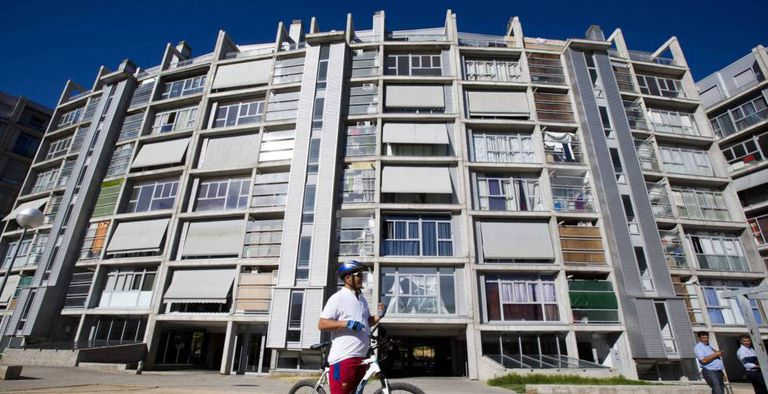 A block of social housing in the Madrid neighborhood of Carabanchel, owned by an affiliate of Blackstone.