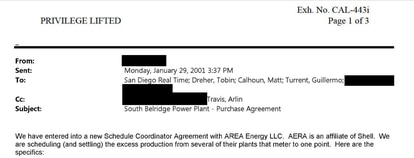 An e-mail used as evidence in the California vs Shell Oil case shows that Turrent, Travis and Calhoun were working together during the California electricity crisis.
