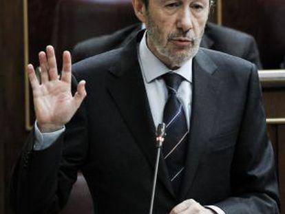 Alfredo Pérez Rubalcaba during a congressional debate.