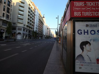 Madrid's normally busy Gran Vía, nearly deserted on Friday after 13 days of lockdown.