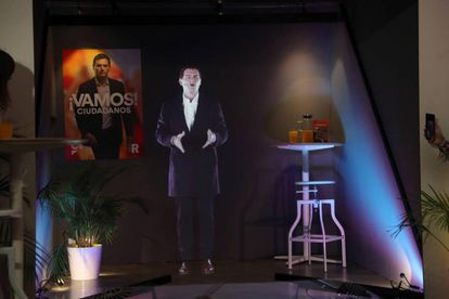Ciudadanos leader Albert Rivera, who kicked off the campaign in Segovia, showed up in hologram form in Madrid.