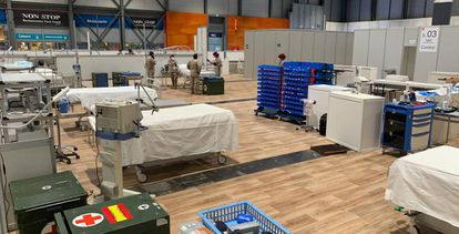 The field hospital at Madrid's Ifema exhibition center.