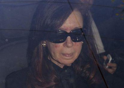 Cristina Fernández de Kirchner arrives at the hospital on Monday.