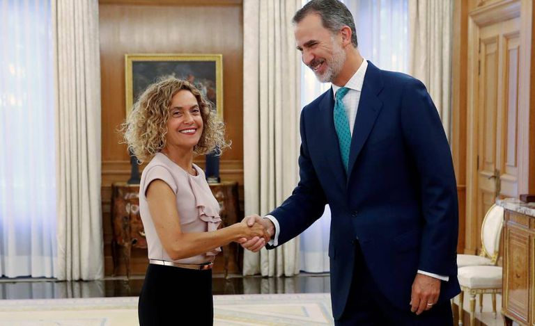 King Felipe with Congressional speaker Meritxell Batet on Thursday.