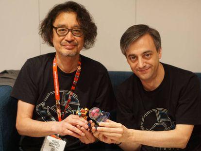 Yoshio Sakamoto (l), the creator of Metroid, with MercurySteam's José Luis Márquez.