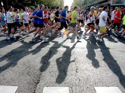 Runners taking part in a Madrid half-marathon.