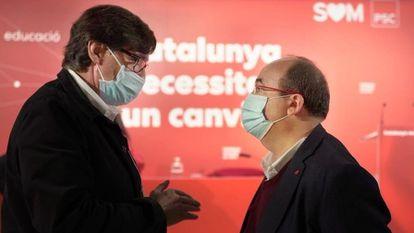 Health Minister Salvador Illa and PSC secretary Miquel Iceta.