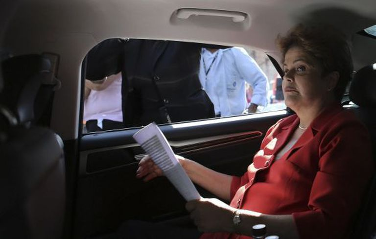 Rousseff in her presidential car.