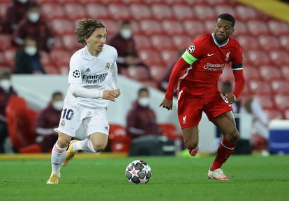 A recent Champions League game between Liverpool and Real Madrid.
