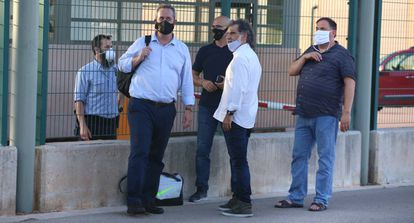 Joaquim Forn, Raül Romeva, Jordi Cuixart and Oriol Junqueras pictured in July, after their more flexible prison regime was revoked.