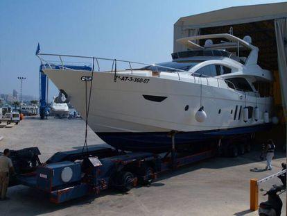 A yacht in a shipyard in Alicante.