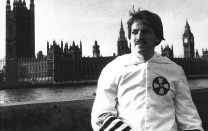 David Duke in a Ku Klux Klan uniform in London in 1978. He managed to visit the country despite being banned.