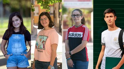 From left to right; Lara, 11, Raquel, 16, María, 13 and Víctor, 17.