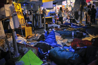Demonstrators at the Puerta del Sol protest camp on May 22, 2011.