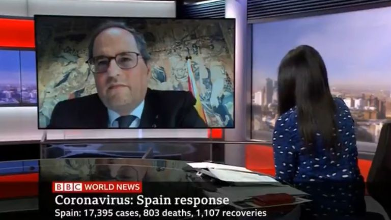 Catalan premier Quim Torra during the BBC interview.