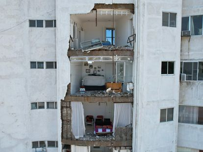 This hotel in Acapulco (Guerrero) was damaged by the earthquake on Tuesday.