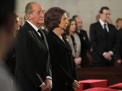 The king and queen of Spain during Tuesday's Mass to remember the victims of the 11-M attacks.
