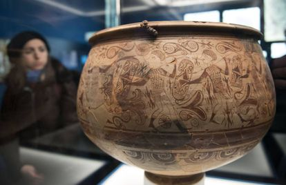 The vase of the warriors, dated between the second and third centuries BC, a masterpiece of Iberian art.