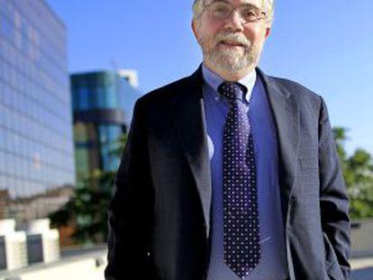 Paul Krugman, outside Madrid's Rafael del Pino Foundation.