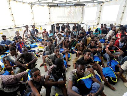 Migrants rescued by the 'Aquarius' on Friday.