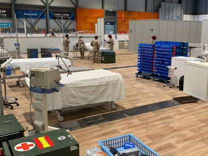 The field hospital at Madrid's Ifema exhibition center.