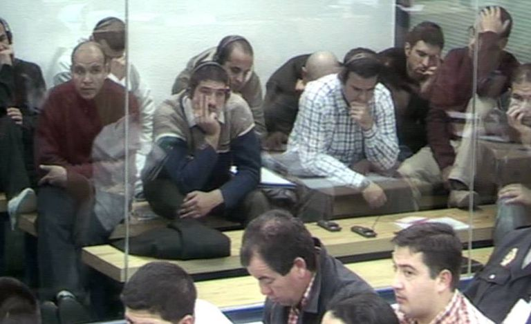 Some of the accused terrorists during the Supreme Court trial.