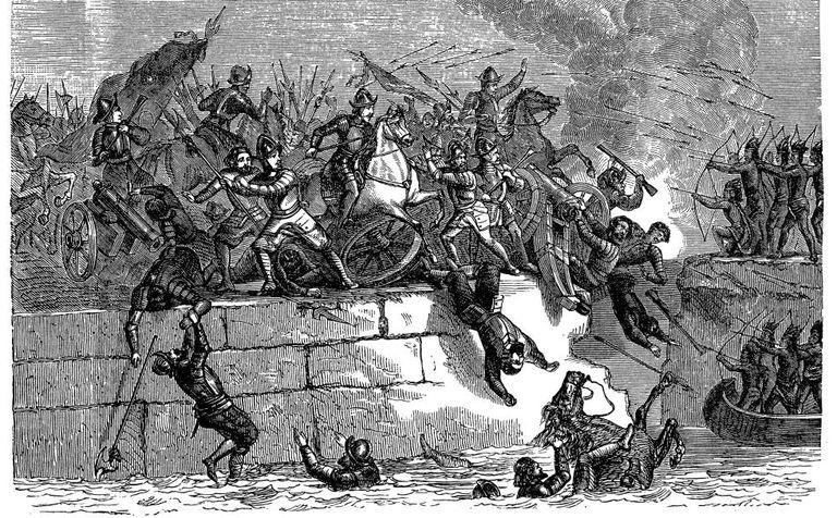 Hernán Cortés' troops conquering Tenochtitlán, the Aztec capital.