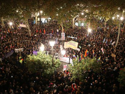 A protest in Seville on Tuesday night called by feminist groups.