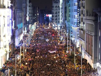 Gran Via during the feminist demo on March 8 in Madrid.